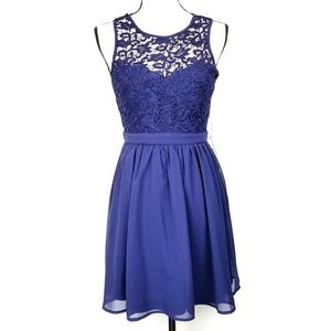 Lulu's | Blue Romantic Tale Lace Skater Dress